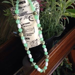 Light Green Bead Necklace with Sea Shell Accents